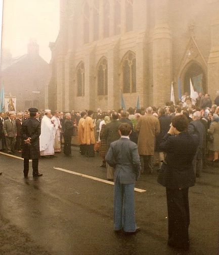 HALIFAX (West Yorkshire) - Ukrainian Catholic Church of Our Lady of the Holy Patronage in Queen Street. Consecrated in 1977 (pictured is the opening procession), last mass scheduled for October 2017. Also see: http://www.geograph.org.uk/photo/5398273 http://www.halifaxcourier.co.uk/news/halifax-s-iconic-ukrainian-church-to-be-sold-1-7976411