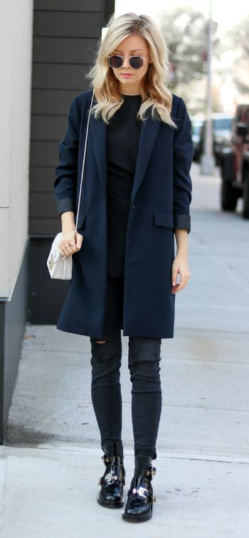 Laurie Ferraro + black and blue + wonderfully simple outfit + black jeans + patent shoes + dark blue overcoat + love the subtlety of this look.   Jacket: Oak + Fort Jacket, Jeans: DSTLD, Boots: Balenciaga, Purse: Furla.