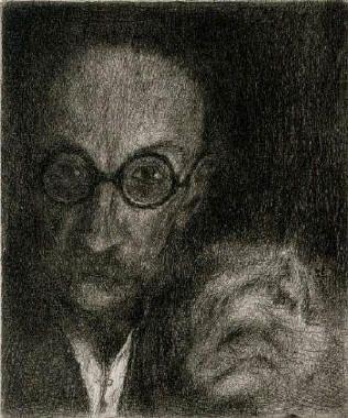 Bohuslav Reynek Autoportret s kočkou / Selfportrait with Cat suchá jehla / dry point 16,4 x 13,6 cm, 1940, otisk z původní desky, opus G 144