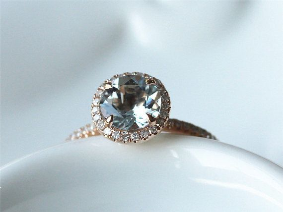 7mm Round Cut VS Aquamarine Ring 14K White Gold Pave by ByLaris