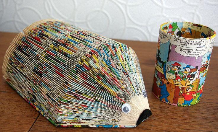 Range-courrier / maman hérisson et son pot a crayons assorti en couleur : Accessoires de maison par recyclivres