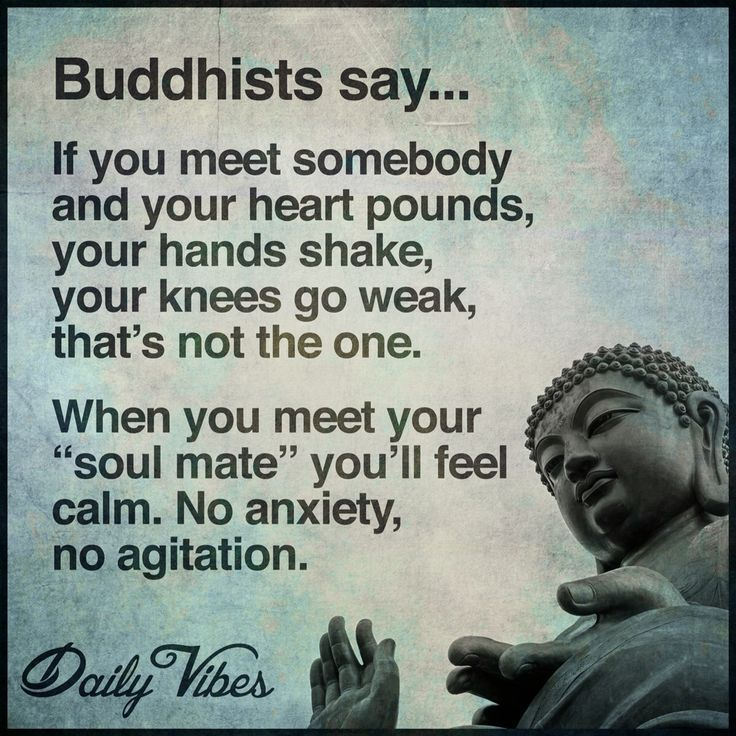 """Buddha If you meet somebody and your heart pounds, your hands shake, your knees go week, that's not the one. When you meet your """"soul mate"""" you'll feel calm. No anxiety, no agitation. Follow back"""