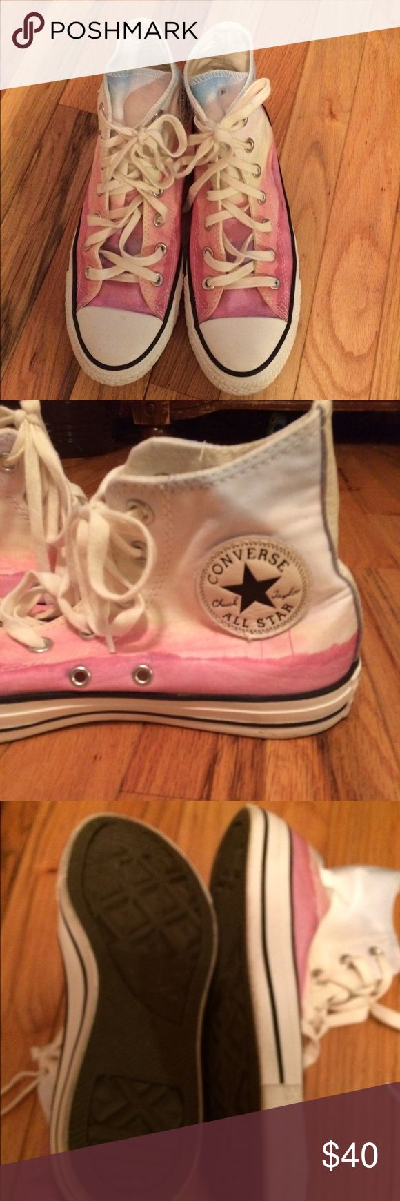 EUC Chuck Taylor All Star Converse EUC women's Chuck Taylor Converse. Pink, blue and white. Does not come in original box. Worn only a few times. Converse Shoes Sneakers