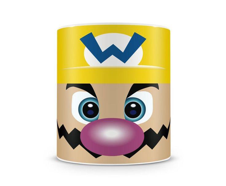 Caneca de ceramica brincando com as faces dos personagens dos jogos do mario