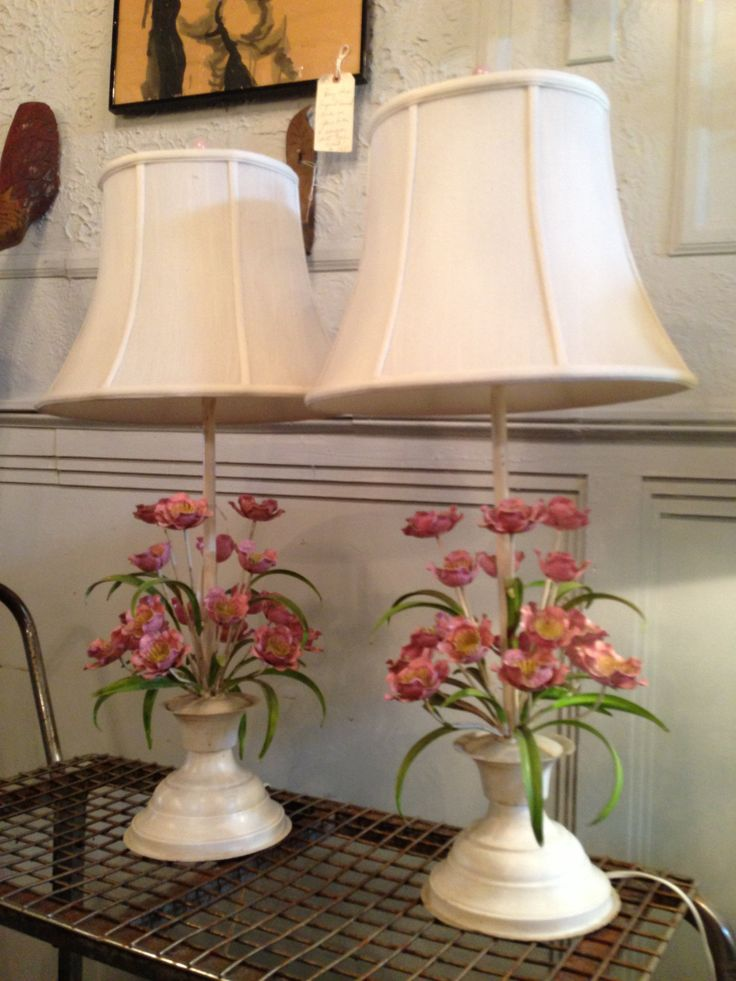 Flower Lamp Shade : Images about italian floral tole lamps and lighting