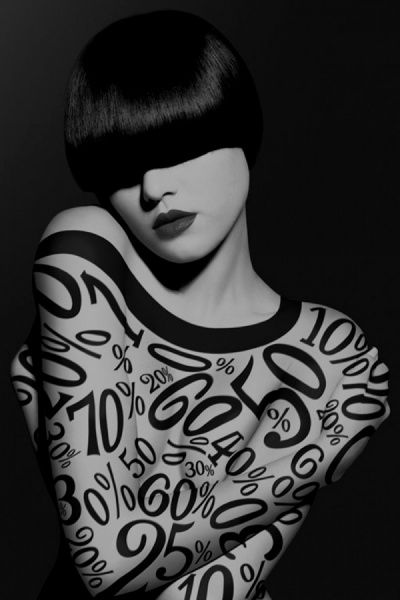 Numbers & % - #bodypaint like through perfectly focused & constrasted projection