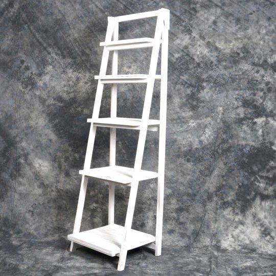 Vintage Style Wooden 5 Shelf Storage in White