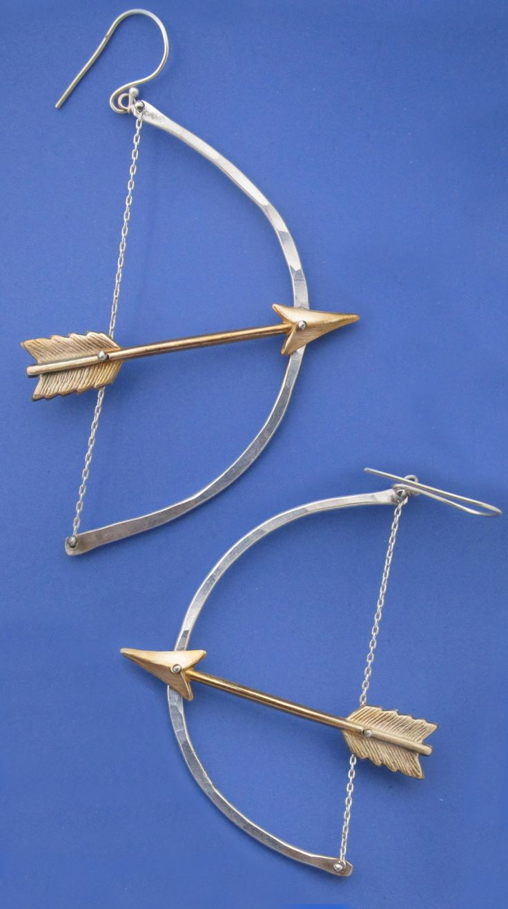 Diana Bow And Arrow Earringshandmade In Sterling Silver With Little  Brass Arrows