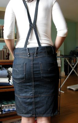 laws of general economy: G-Star Raw denim pencil skirt with suspenders size 27
