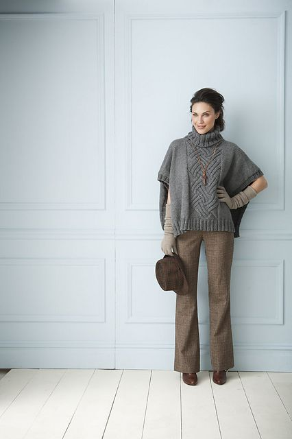 An entrelac panel takes center stage on this updated poncho. Knitting just a section in entrelac is an effortless way to incorporate the technique.