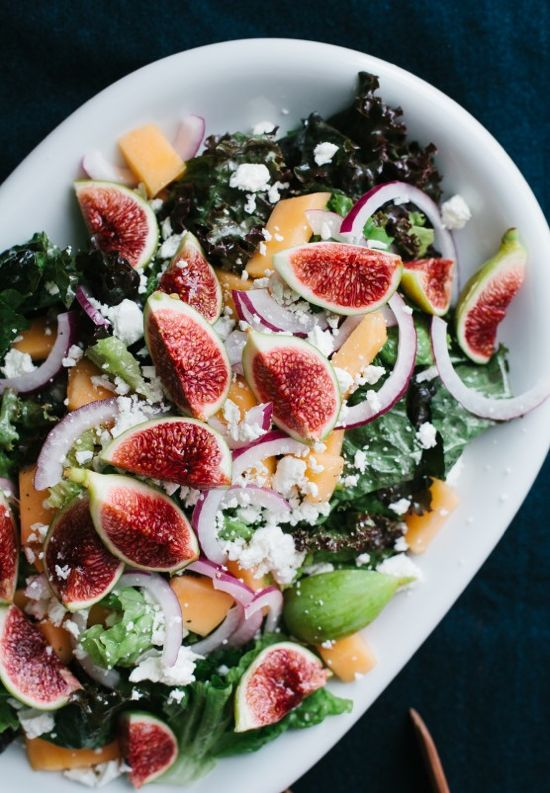 Fig and Melon Salad with Creamy Lemon Vinaigrette #recipe #food #sidedish #lunch
