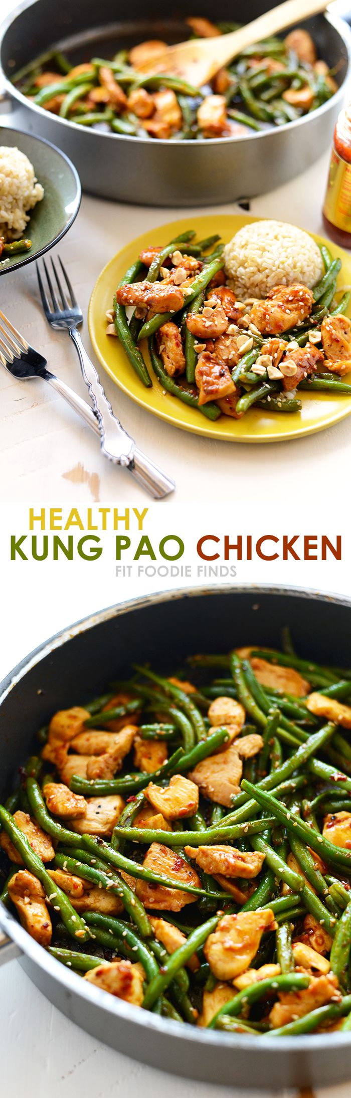 20 minutes/ Healthy Kung Pao Chicken with just 8 simple ingredients for a dinner packed with protein and paleo-friendly