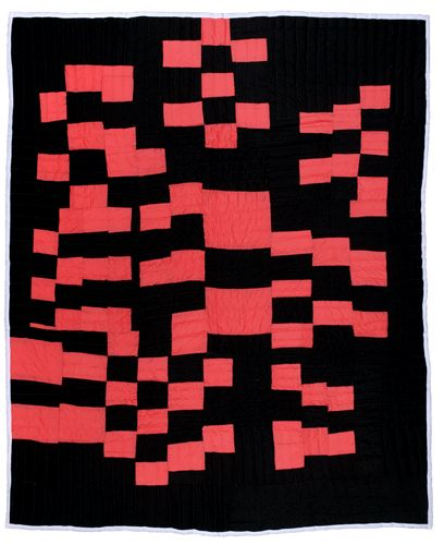 in love with pink and black... love the music in this piece...Gee's Bend quilt