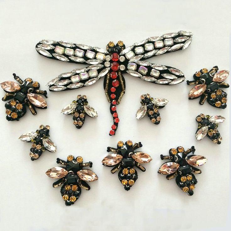 N de abejas libélula Rhinestones con cuentas broche de parches apliques bordados coser parches accesorios de decoración ropa de moda en Parches de Hogar y Jardín en AliExpress.com | Alibaba Group