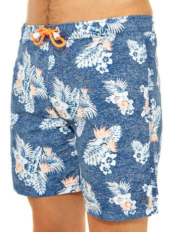 Solid Blue Floral Swim Shorts from @burtonmenswear