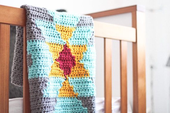 Aztec Tribal Crochet Blanket Throw Baby Home Knit by CrochetSavy