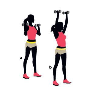 Fry fat in just 15 minutes with this routine! Pictured: Overhead press. The 5 other moves to do: http://www.womenshealthmag.com/fitness/how-to-burn-fat?cm_mmc=Pinterest-_-WomensHealth-_-Content-Fitness-_-FryFatin15