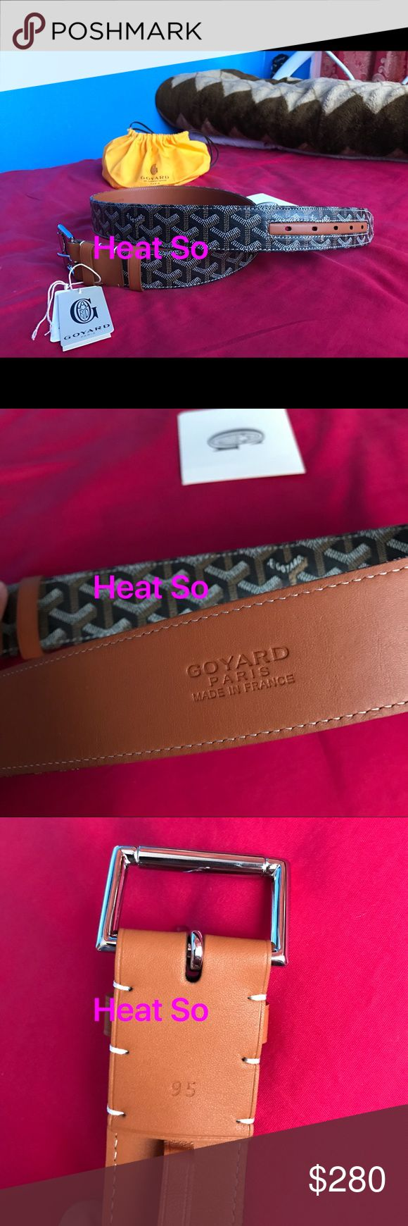 NWT and genuine brown Goyard belt For sale are my authentic and new men's brown leather goyard belts. These belts alphabet no flaws and come with original dustbag as well as tags. Sizes range from 28-36. These are 100% original and genuine not that cheap fake stuff that's out there. Goyard Accessories Belts