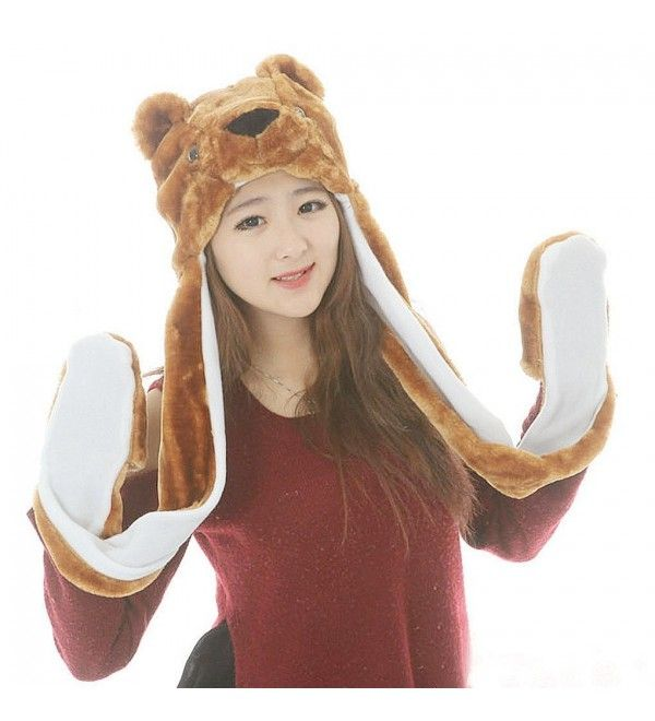 Plush Pink Bear Hat Novelty Cap Animal Costume Scarf With Long Paw Mittens