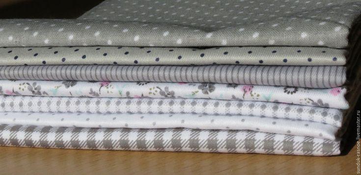 Купить Набор тканей серый - серый, набор таней, хлопок 100%, хлопок для пэчворка