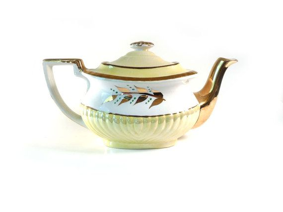 Vintage teapot yellow and white Gibsons English by reconstitutions, $23.50