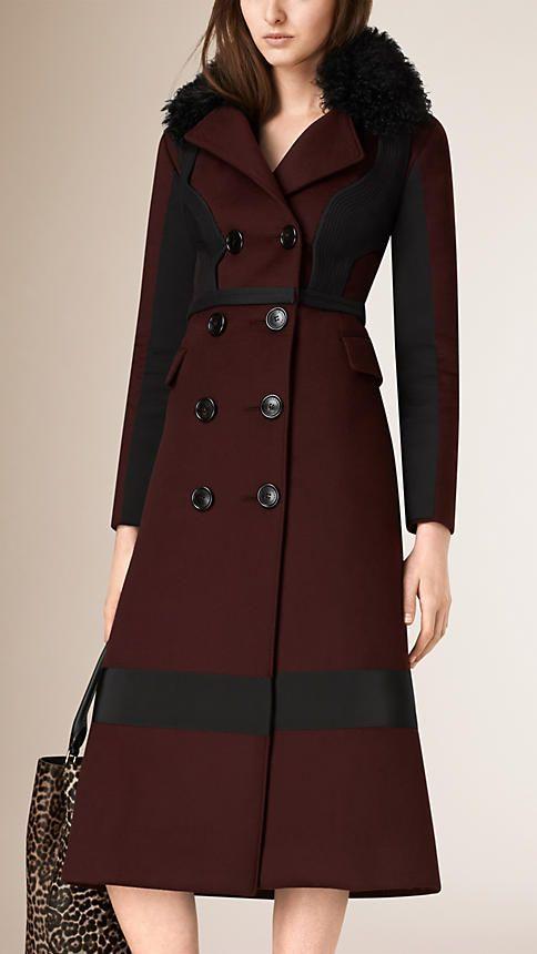 Cereja preta Officer coat de mescla de cashmere - Imagem 1