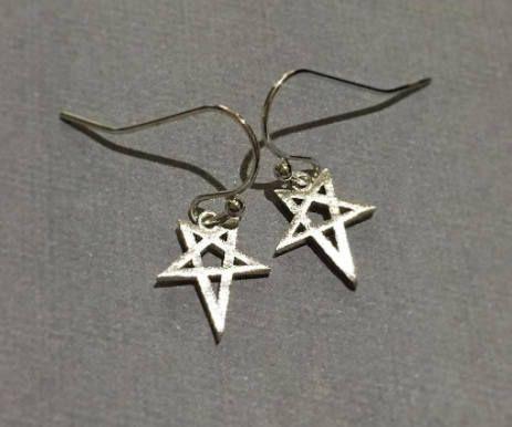 Small Matte Star Rhodium Plated over Brass Earrings, Silver Earrings -Drop Dangle Earrings, Bohemian Hobo Style Earrings, Gift Ideas