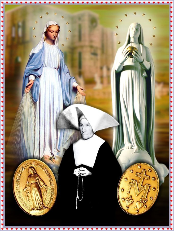 """Happy Feast Day of St Catherine Laboure – November 28 #pinterest Shortly after she finished her training as a postulant, Sister Catherine received a special privilege. She began to see the Blessed Mother. One night, she was awakened from sleep. A """"shining child"""" led her to chapel. There Our Lady came to talk to her. ............
