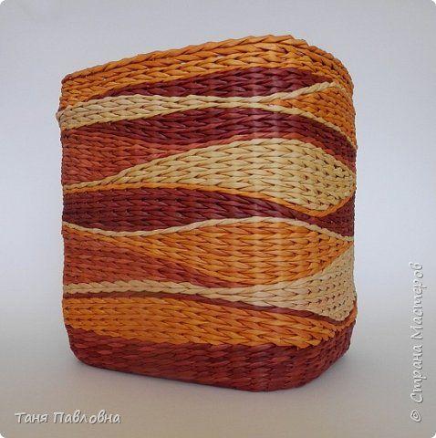 Поделка изделие Картонаж Кинусайга Плетение Шкатулочки №56-58 Картон Ткань Трубочки бумажные фото 17