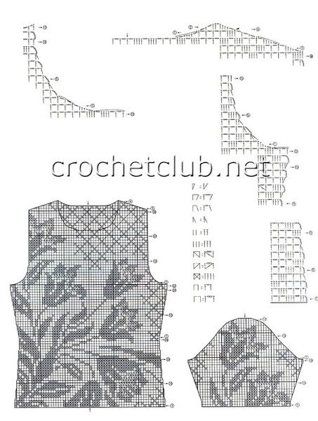 filet crochet top chart 1
