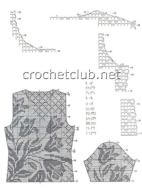 filet crochet top chart 1