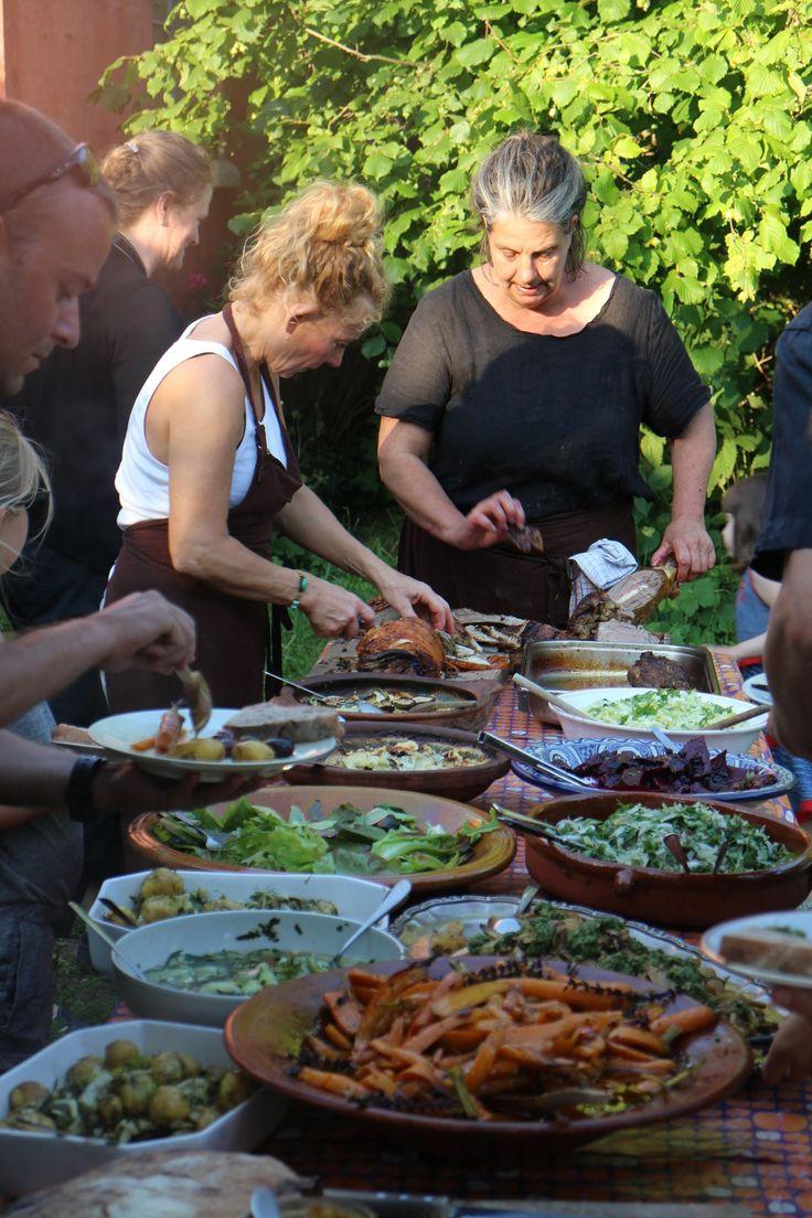 Camilla Plum and Cathrine Jerrik serving an al fresco summer dinner at Fuglebjerggaard