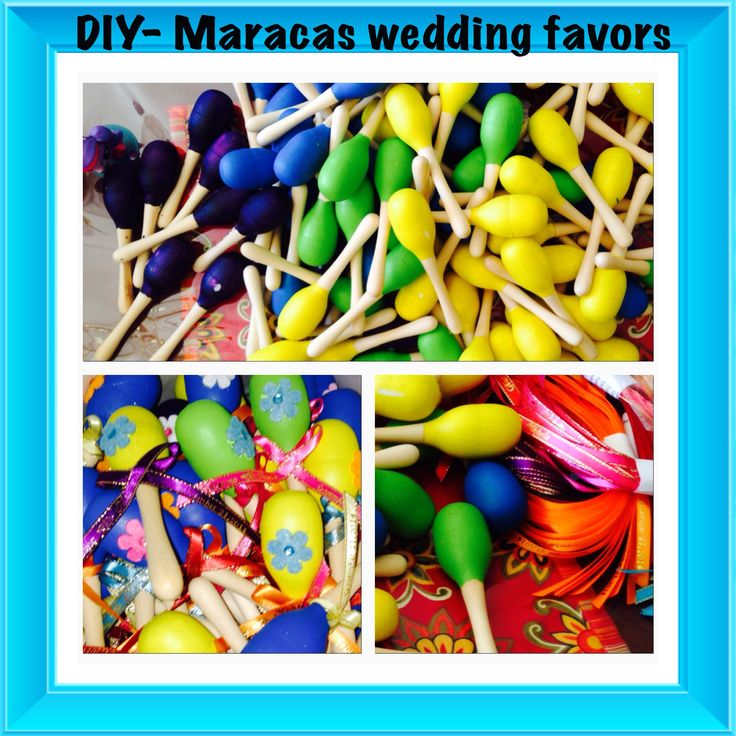 DIY maracas from Oriential Trading Co. Painted in fiesta colors, ribbons and flowers.