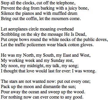 Funeral Blues WH Auden