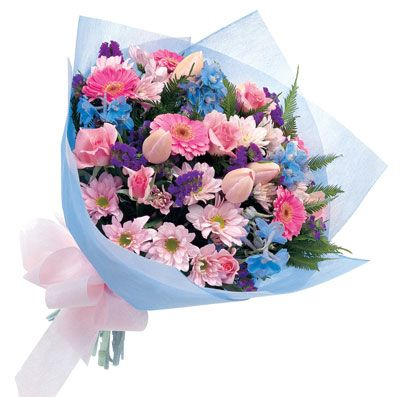 a traditional bouquet of mixed flowers  very nice.......
