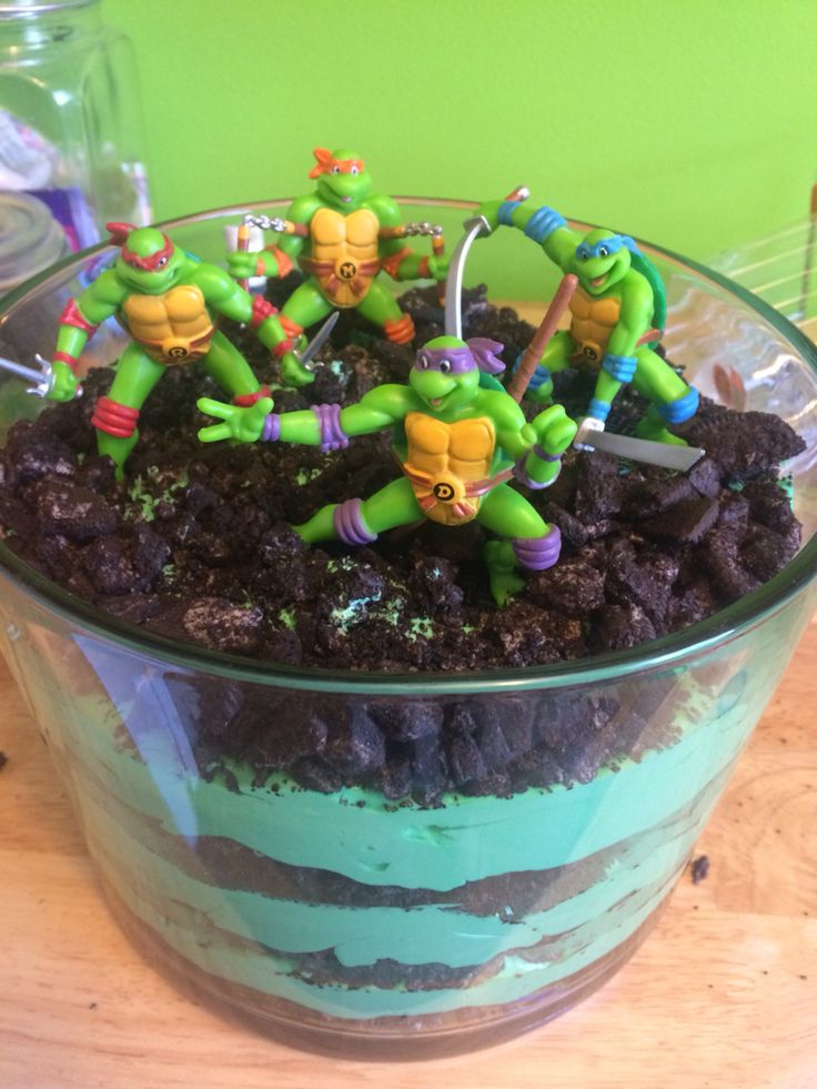 Teenage mutant ninja turtle dirt cake - layers of pudding and Oreos - best dessert for picnics and parties