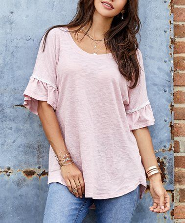 17aded82ba1 Dusty Pink Pearl-Accent Ruffle-Sleeve Tunic - Women & Plus by Suzanne Betro  Weekend #zulilyfinds