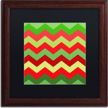 Trademark Fine Art Xmas Chevron Canvas Art by Color Bakery, Black Matte, Wood Frame, Size: 16 x 16, Assorted
