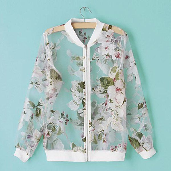 Trendy Style Stand Collar Floral Print See-Through Long Sleeve Women's Jacket, WHITE, L in Jackets & Coats | DressLily.com