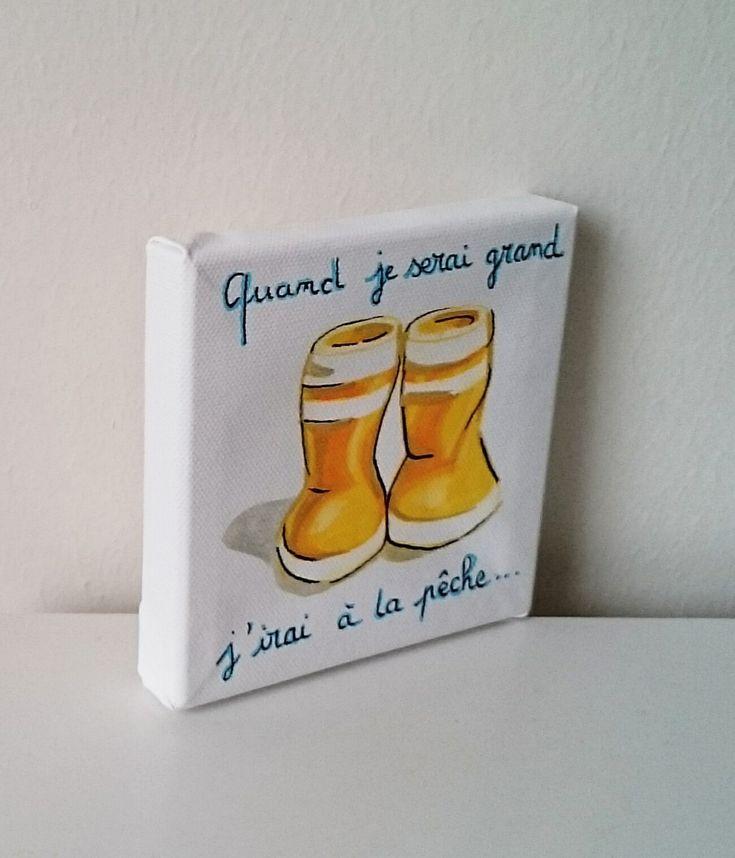 """Tableau peinture chambre enfant """"quand je serai grand """" bottes jaunes bleu : Chambre d'enfant, de bébé par milid"""