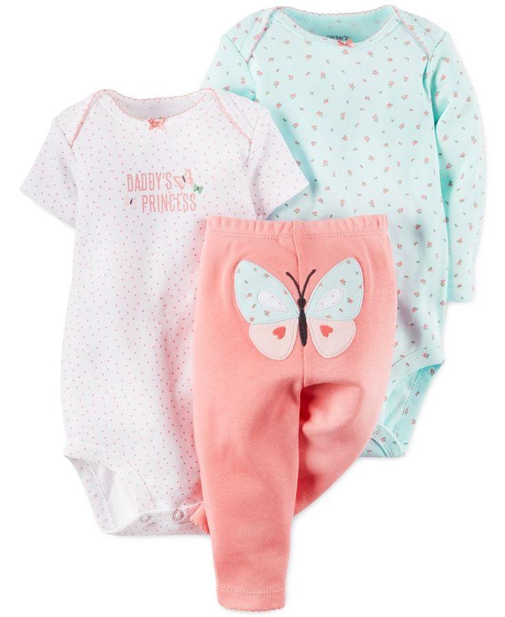 Carter's Baby Girls' 3-Piece Daddy's Princess Bodysuits & Pants Set