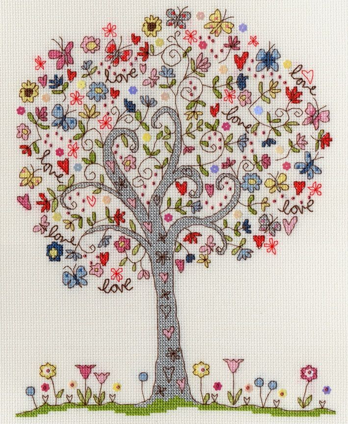 'love tree' cross stitch kit from www.bothythreads.com - I wish this was embroidery...I wish it wasn't a kit...but if I was to start x-stitching again, this site is full of fun new patterns