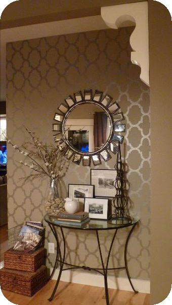 Matte and Martha Stewart metallic paint using homemade stencil = gorgeous wall ~~~