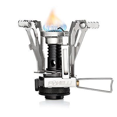 Foxelli Camping Stove with Piezo Ignition System - Lightweight, Portable, Best