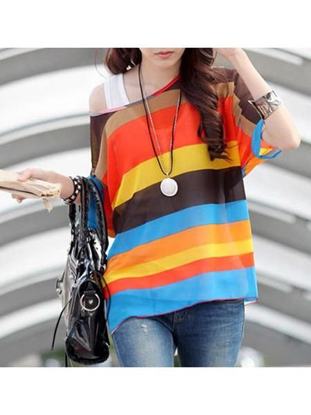 LadyIndia.com #Designer Top, Multicolor Striped Bohemia Chiffon Smock Tops - Colorful Top, Designer Top, Fashion Trend, Tops, Women Wear, Girls Tops, https://ladyindia.com/collections/western-wear/products/multicolor-striped-bohemia-chiffon-smock-tops-colorful-top