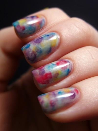 Watercolor Works: Watercolor Manicures, Nails Art, Watercolor Nails, Chalkboards Nails, Chalkboard Nails, Watercolors, Water Colors Nails, Nail Art, Watercolor Tutorials