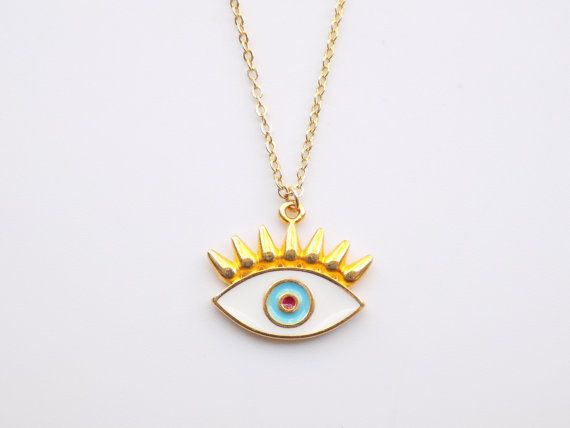 Gold Evil Eye Necklace 14k Gold Filled Necklace by ArroseJewelry #evileyenecklace #evileye #eyenecklace #luckynecklace #luckycharm