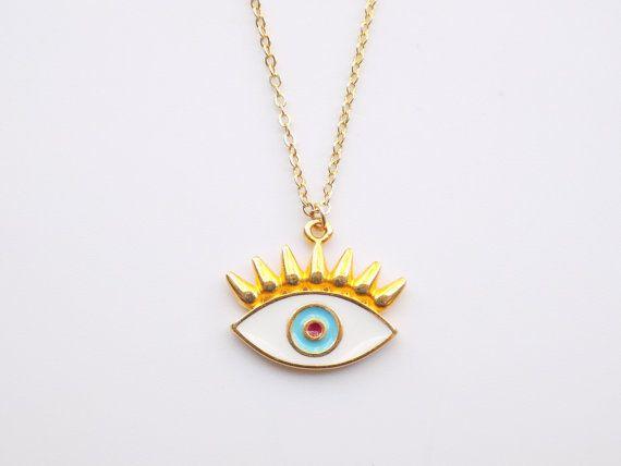 Gold Evil Eye Necklace 14k Gold Filled Necklace by ArroseJewelry #evileyenecklace #evileye #eyenecklace #luckynecklace #luckycharm