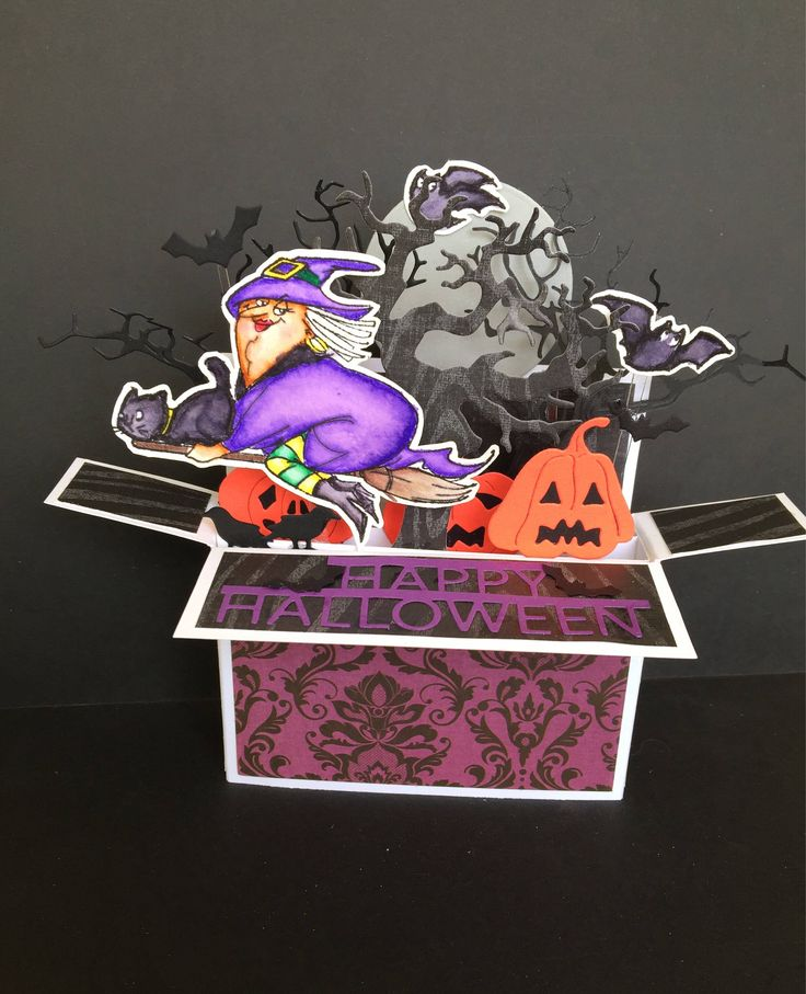 A personal favorite from my Etsy shop https://www.etsy.com/listing/541966875/halloween-pop-up-box-card-old-flying