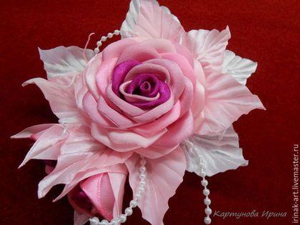Броши ручной работы. Ярмарка Мастеров - ручная работа. Купить Розовые сны. Броши из ткани.. Handmade. Комбинированный, для сумочки